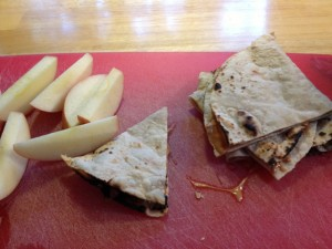 "Peanut Butter ""quesadilla"" and apple slices"